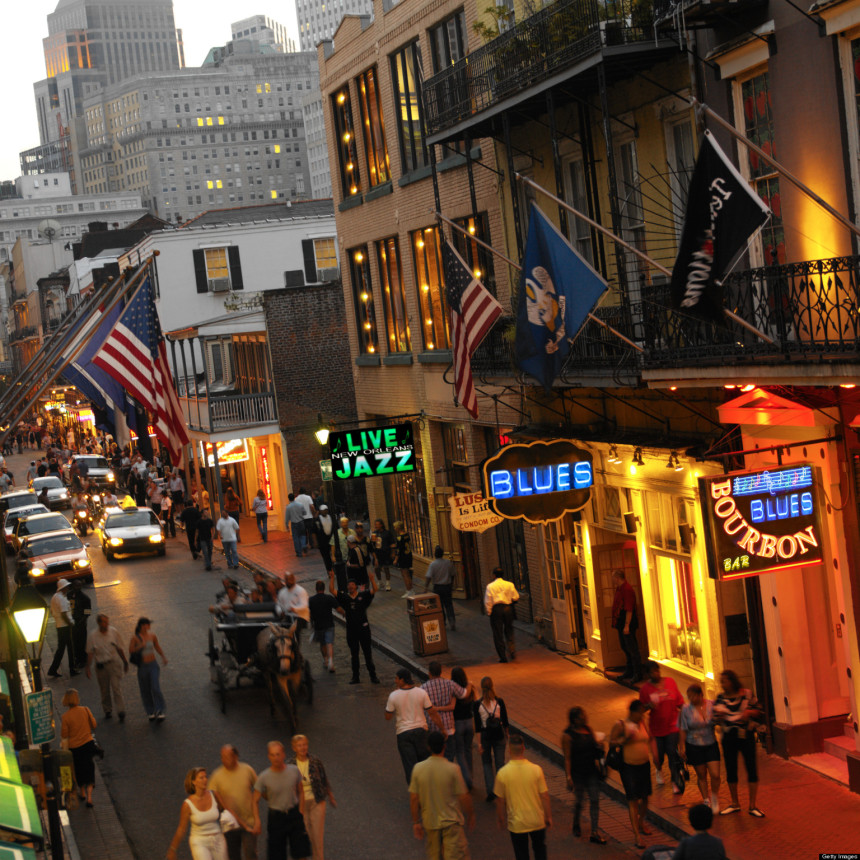 Bourbon Street in the French quarter of New Orleans. USA